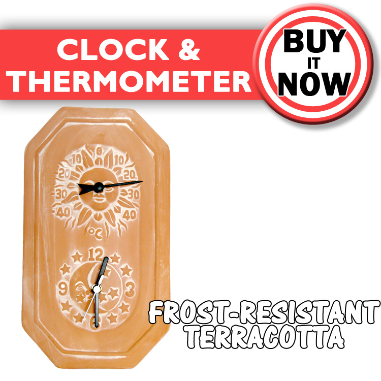 Terracotta sun amp moon garden clock amp thermometer gardman