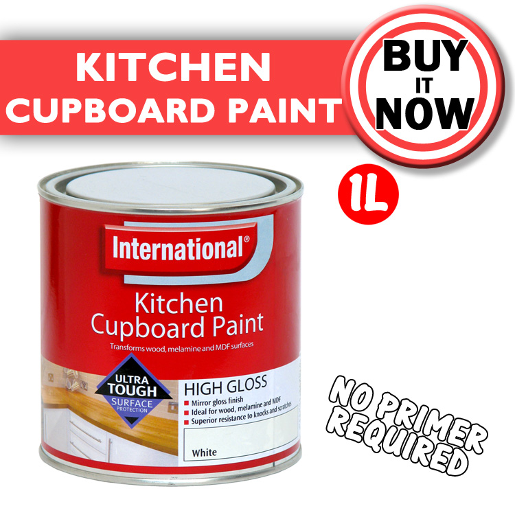 International Kitchen Cupboard Paint High Gloss 1l Black